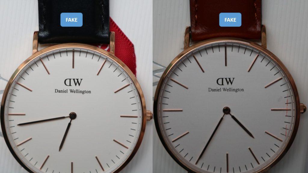 2 loại mặt số trắng đồng hồ Daniel Wellington fake