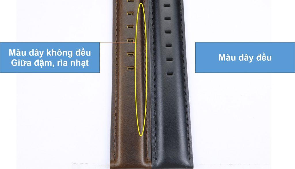 so sánh dây da đồng hồ Daniel Wellington chính hãng và fake