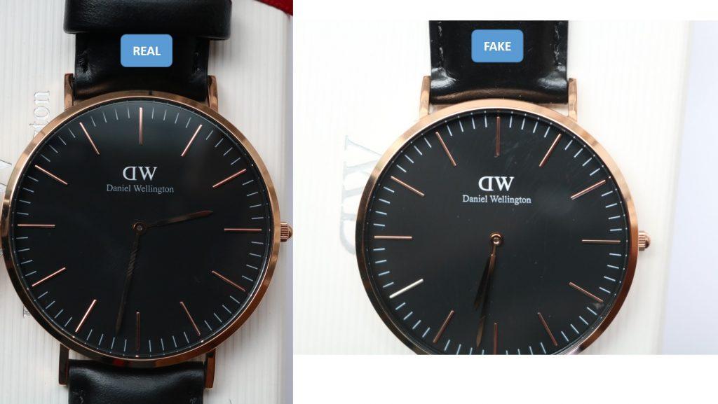 2 loại mặt số đen đồng hồ Daniel Wellington chính hãng và fake