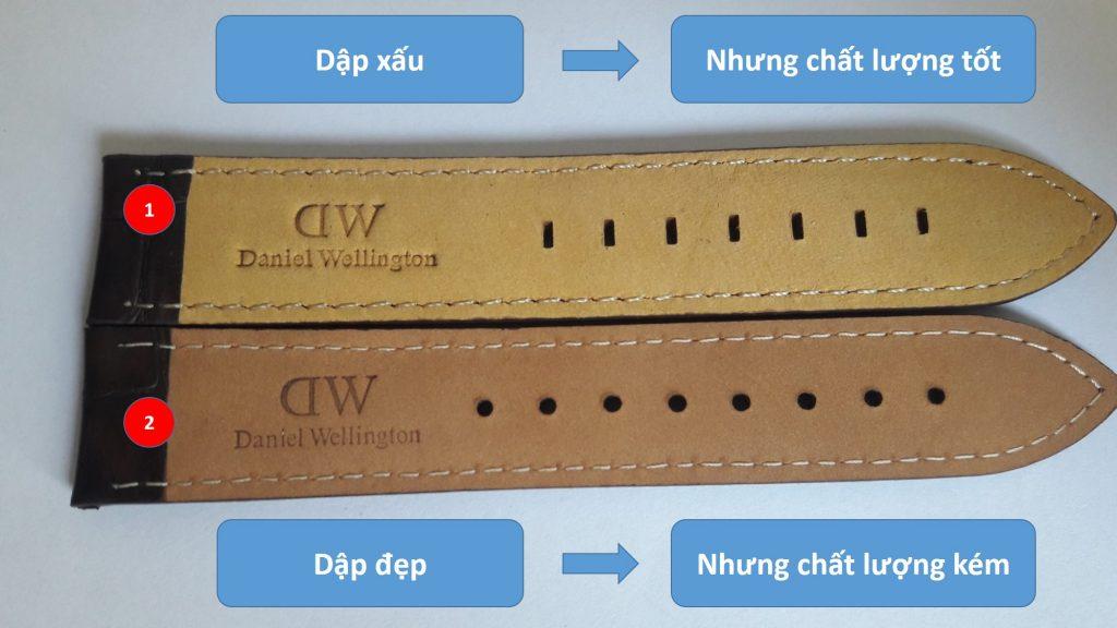 mặt dưới dây da đồng hồ daniel wellington chính hãng và fake