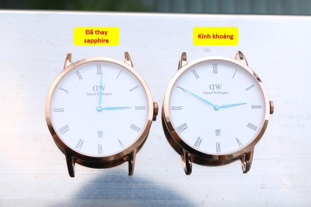 đồng hồ Daniel Wellington trước và sau khi thay kính sapphire