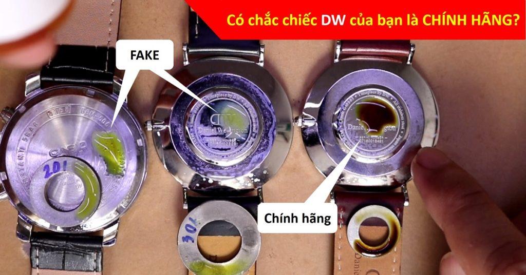 chất liệu inox giữa đồng hồ daniel wellington chính hãng và fake dòng classic petite