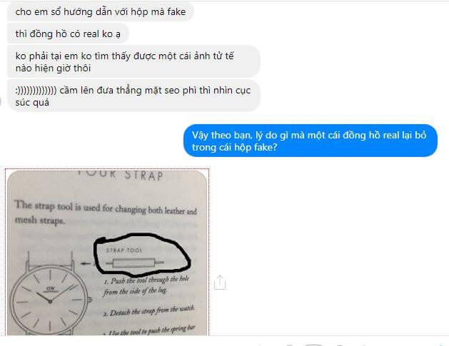 inbox hỏi đồng hồ daniel wellington chính hãng đặt trong hộp fake