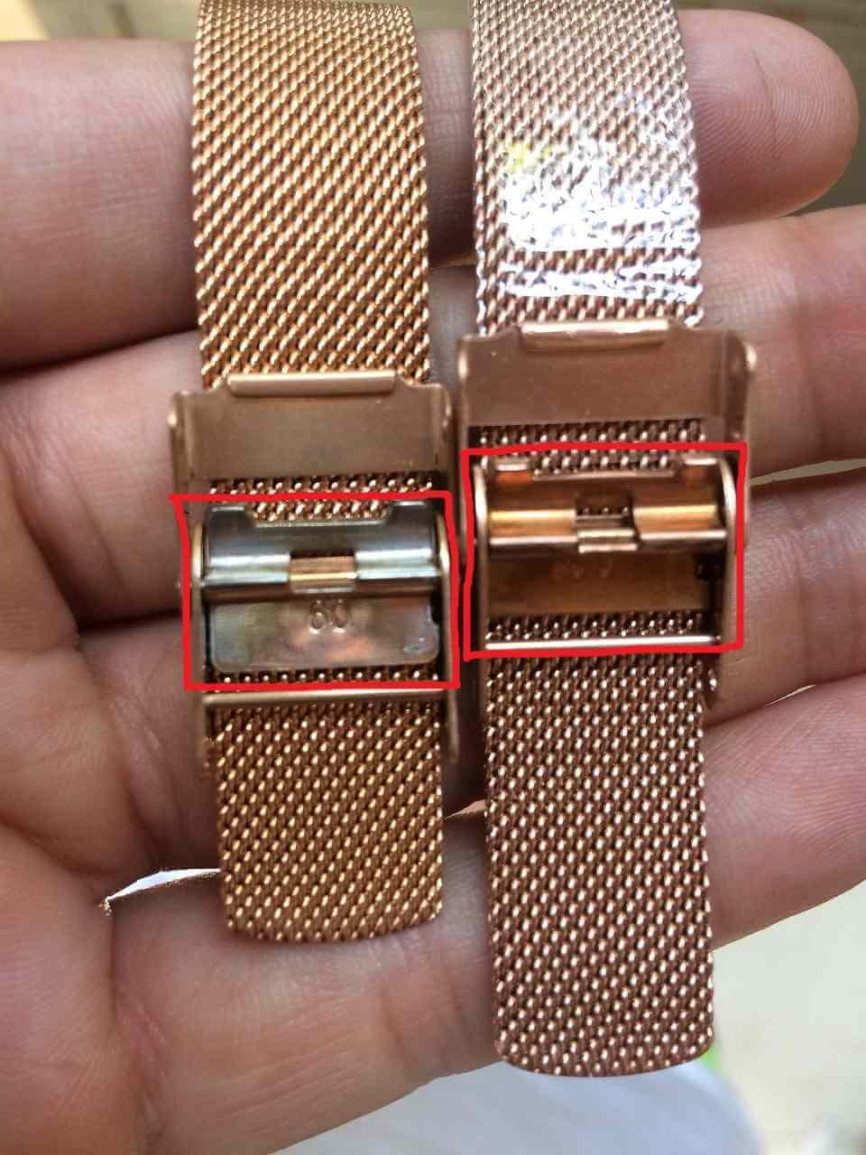 Mặt dưới khóa dây lưới kim loại đồng hồ daniel wellington không xi mạ