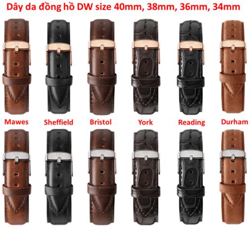 dây da đồng hồ daniel wellington chính hãng size 40mm, 38mm, 36mm