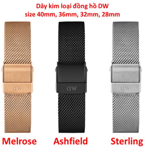 dây lưới kim loại đồng hồ daniel wellington chính hãng size 40mm, 36mm, 32mm, 28mm