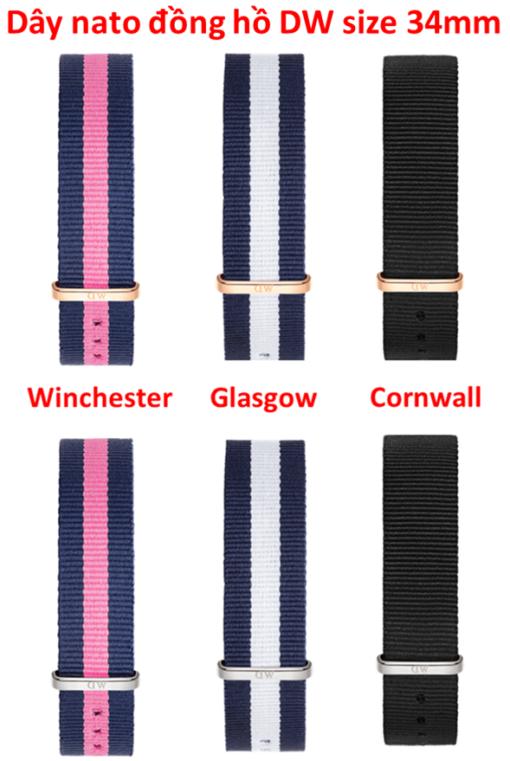 dây vải nato đồng hồ daniel wellington chính hãng size 34mm
