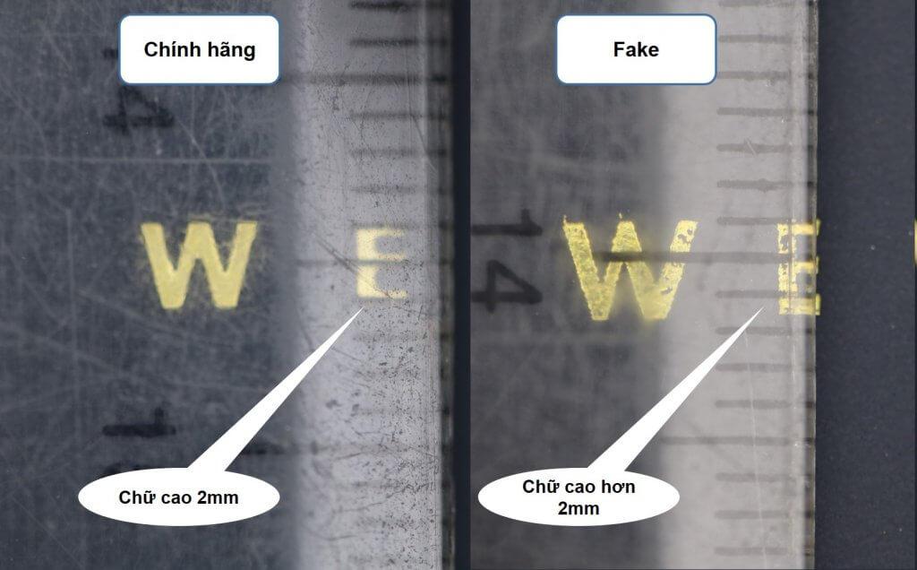 chiều cao font chữ daniel wellington trên nắp hộp đồng hồ chính hãng và fake