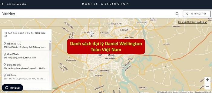 danh sách đại lý đồng hồ daniel wellington việt nam