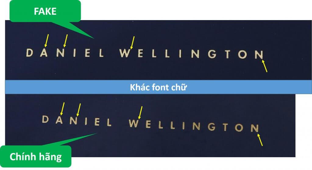 khác biệt font chữ daniel wellington trên nắp hộp đồng hồ chính hãng và fake