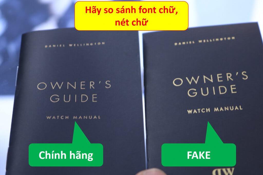 trang bìa sổ hướng dẫn đồng hồ daniel wellington chính hãng và fake (hình 1)