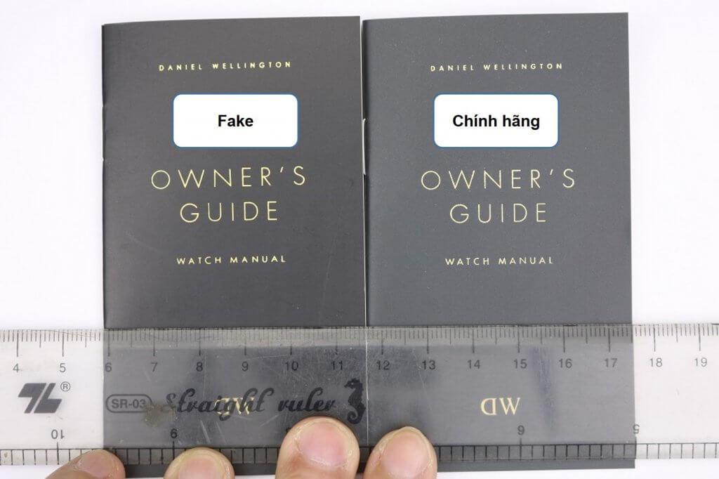 Bìa sổ hướng dẫn đồng hồ daniel wellington classic petite fake và chính hãng
