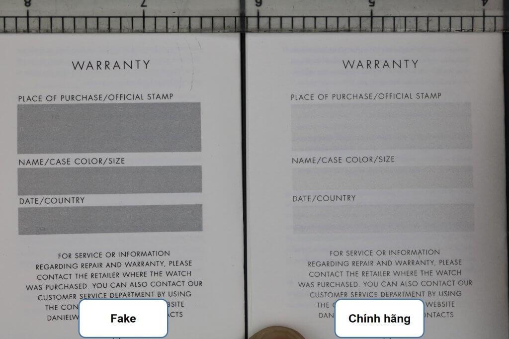 trang cuối sổ hướng dẫn đồng hồ daniel wellington chính hãng và fake