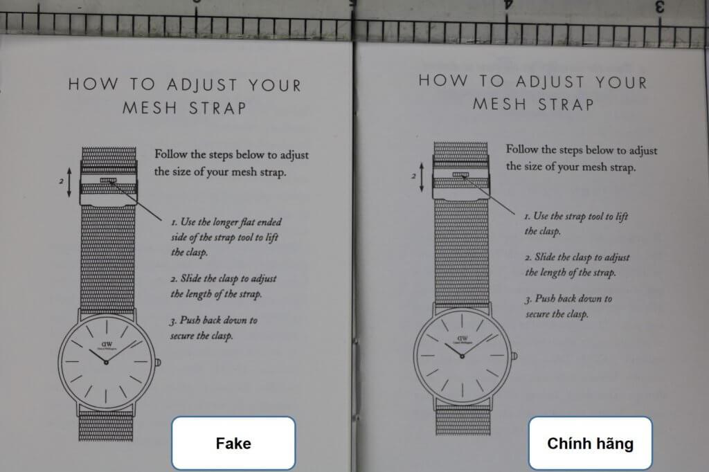 trang giữa sổ hướng dẫn đồng hồ daniel wellington chính hãng và fake
