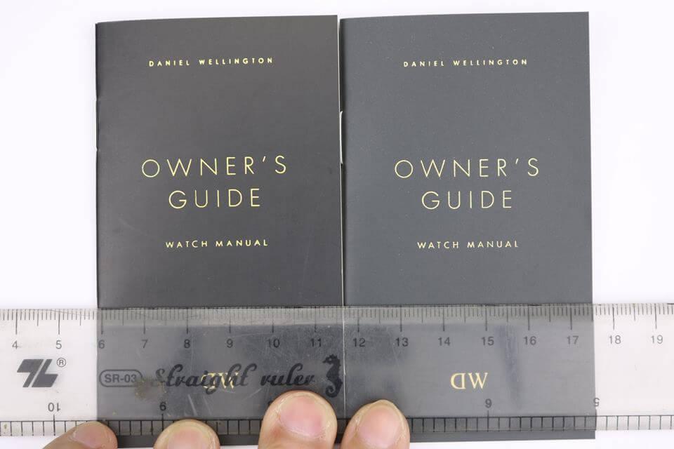 font chữ trên sổ hướng dẫn đồng hồ daniel wellington fake và chính hãng